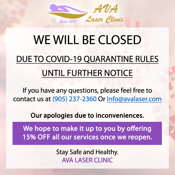 Ava Laser Clinic Coronavirus Closed Banner2